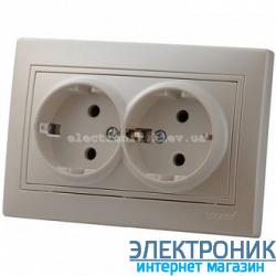 MIRA ЖЕМЧУЖНО-БЕЛЫЙ ПЕРЛАМУТР Розетка двойная с/з