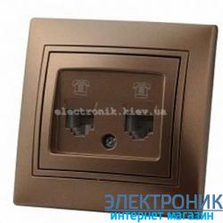 Розетка компьютер + телефон  Mira светло-коричневая перламутр (шт.)