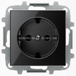 Розетка с заземлением и шторками ABB SKY черное стекло