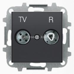 Розетка TV+R прох. ABB SKY черный бархат
