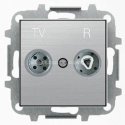 Розетка TV+R прох. ABB SKY нержавеющая сталь