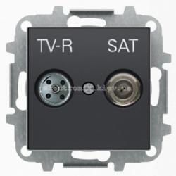 Розетка TV+R+Спутник конц. ABB SKY черный бархат