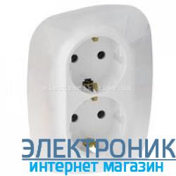 Розетка двойная с заземлением и шторками, автоматические клеммы Legrand Valena Allure (Белая)