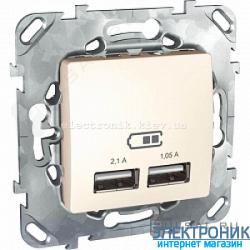 Розетка 2х USB-выход для зарядки 2-модуля Schneider (Шнайдер) Unica слоновая кость