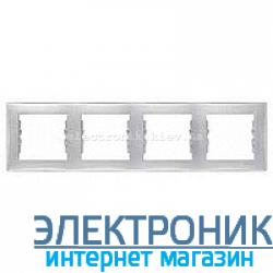 Рамка Schneider (Шнайдер) Sedna 4-поста горизонтальная алюминий