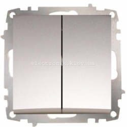 Механизм Выключатель двойной проходной EL-BI Zena Silverline Серый