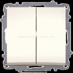 Механизм Выключатель двухклавишный EL-BI Zena КРЕМ