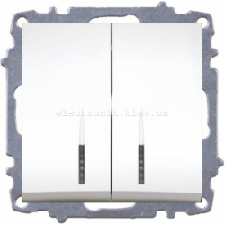 Механизм Выключатель двухклавишный с подсветкой EL-BI Zena белый