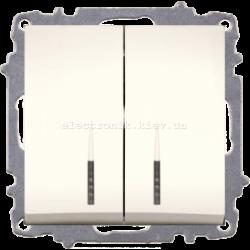 Механизм Выключатель двухклавишный с подсветкой EL-BI Zena КРЕМ