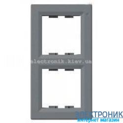 Рамка Schneider (Шнайдер) Asfora Plus 2-постовая вертикальная сталь