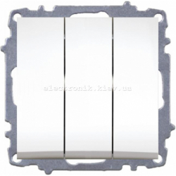 Механизм Выключатель трёхклавишный EL-BI Zena белый