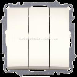 Механизм Выключатель трёхклавишный EL-BI Zena КРЕМ