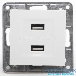 Розетка USB двойная 2*1А, 5V, DC Tesla LXL белый