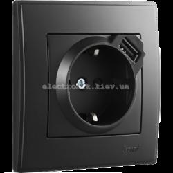 LESYA Розетка с/з + USB зарядка антрацит