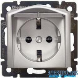 Розетка электрическая с крышкой (алюминий) Легранд Валена