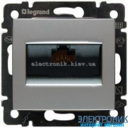 Розетка одинарная Ethernet Rj45, 5e UTP, Легранд Валена (алюминий)