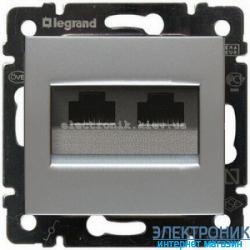 Розетка двойная Ethernet Rj45, 5e UTP, Легран Валена (алюминий)