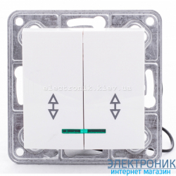Выключатель проходной двойной с подсветкой Tesla LXL белый