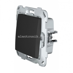 Кнопка-вимикач без фіксації одноклавішна PLANK антрацит