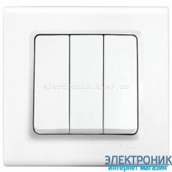 Выключатель трехклавишный VIKO Linnera Белый (90400068)