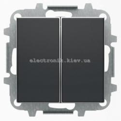 Выключатель 2-клавишный проходной ABB SKY черный бархат