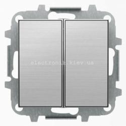 Выключатель 2-клавишный проходной ABB SKY нержавеющая сталь