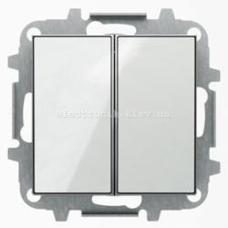Выключатель 2-клавишный проходной ABB SKY белое стекло
