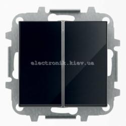 Выключатель 2-клавишный проходной ABB SKY черное стекло