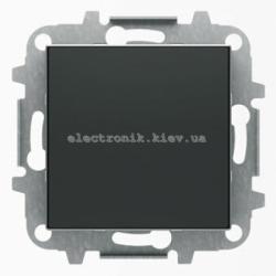 Выключатель 1-клавишный кнопочный без фиксации ABB SKY черный бархат
