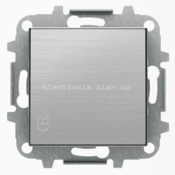 Розетка с заземлением и крышкой ABB SKY нержавеющая сталь