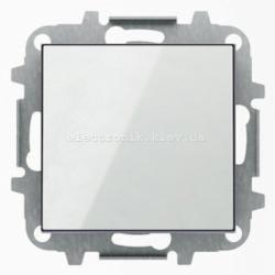 Выключатель 1-клавишный кнопочный без фиксации ABB SKY белое стекло