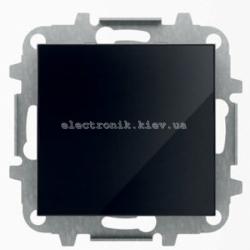 Выключатель 1-клавишный кнопочный без фиксации ABB SKY черное стекло