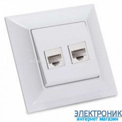 Neoline розетка телефонная+ компьютерная cat. 5E белая