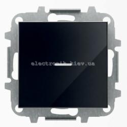 Выключатель 1-клавишный простой и проходной с подсветкой ABB SKY черное стекло