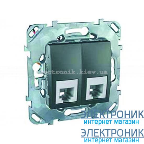 Schneider (Шнайдер) Unica графит телефонная розетка двойная 2хRJ11