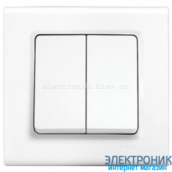 Выключатель двухклавишный VIKO Linnera Белый (90400002)
