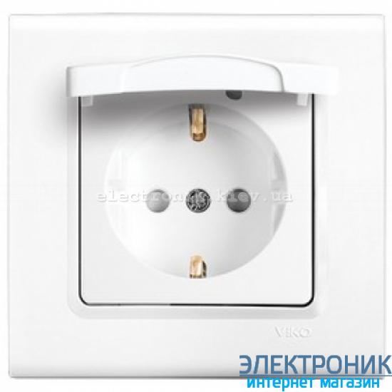 Розетка с защитной крышкой VIKO Linnera (с заземлением) Белая (90400012)
