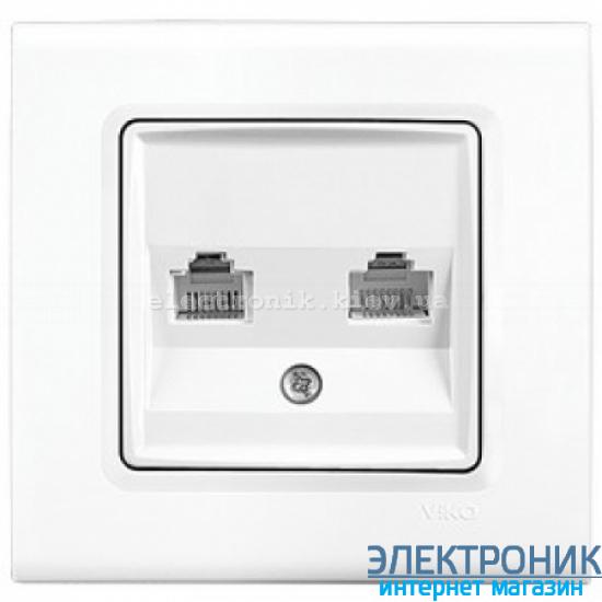 Розетка компьютерная + телефонная двойная RJ45 Cat5e-RJ11 VIKO Linnera Белая (90400035)
