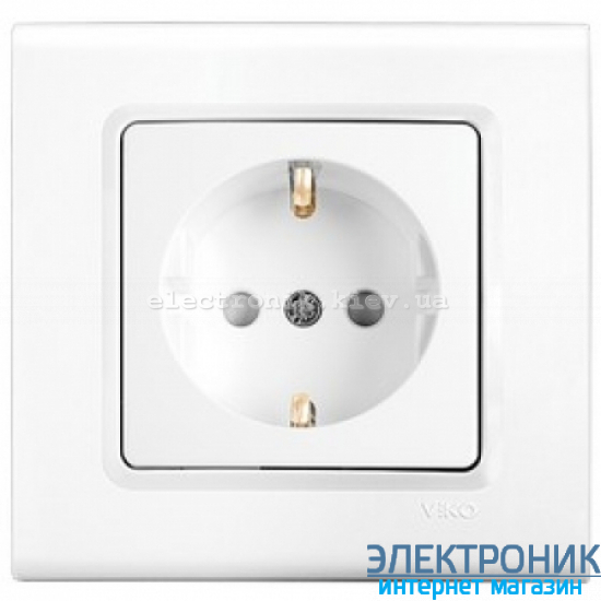 Розетка со шторками VIKO Linnera (с заземлением) Белая (90400042)