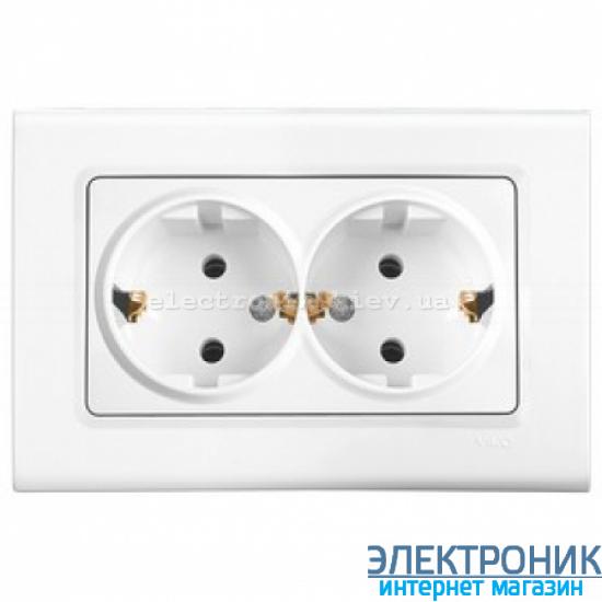 Розетка двойная VIKO Linnera (с заземлением) Белая (90400056)
